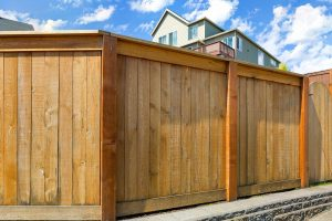 Wood Privacy Fence built in Pflugerville, Texas surrounding a home.